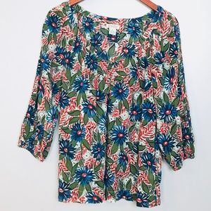 Lucky Brand Tropical Print Floral Blouse Top Sz M